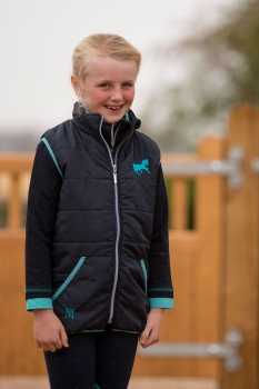 Mark Todd Kids Quilted Gilet Navy/Aqua