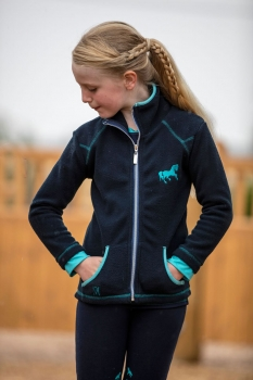 Mark Todd Kids Fleece Zip Jacket Navy/Aqua