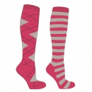 Mark Todd Argyle/Stripe Twin Pack Socks